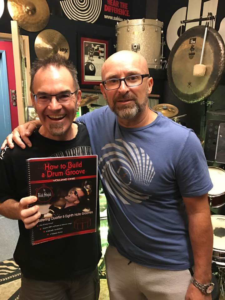 Rick Stojak with master drummer, educator Mike Dolbear from London
